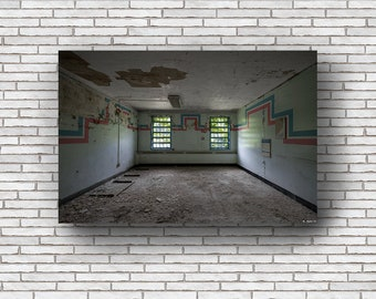 Abandoned Photography Print Fine Art Wall Art Gift - Decaying Room - Creepy Abandoned Hospital - Stripes - Urbex Urban Exploration
