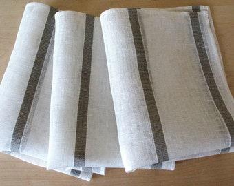 """Linen Napkin Natural White Gray set of 8 - Flax 17.3"""" x12"""" size"""