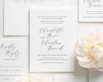 Charlotte Letterpress Wedding Invitations - Deposit