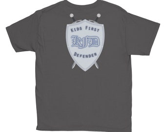 Youth Charcoal -- **- Back Print Only -** KFD Kids First Defender - Youth Short Sleeve T-Shirt