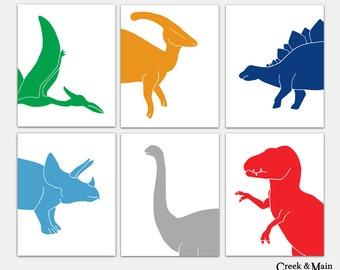 Kids Dinosaur Art, Dinosaur Nursery Art, Dinosaur Bedroom,  Dinosaur Decor, T Rex, Stegosaurus, Triceratops, Apatosaurus, Pterodactyl