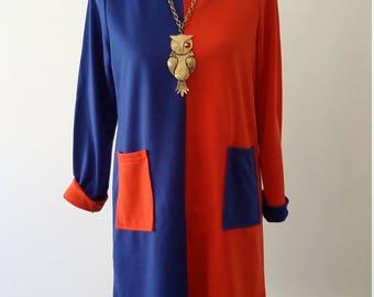 Mod dress, M, L, 70s dress, two tone dress, bue dress, red dress, knit dress, cotton dress, fall dress, spring dress