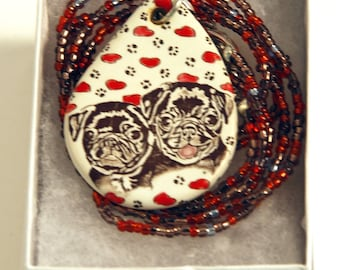 Heart and Pugs Black Pug Pendant Stoneware with red and purple Beaded Necklace