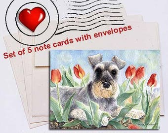 Schnauzer Tulips Note Card Set