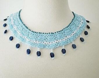 Crochet Lace Jewelry (Ocean Stars) Fiber Jewelry, Statement Necklace, Crochet Necklace