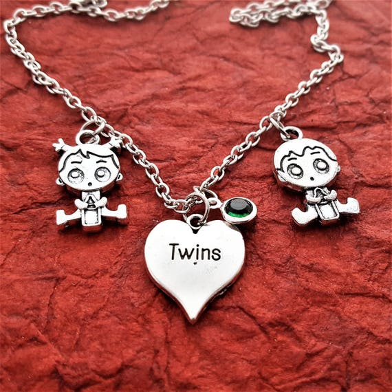 Twins Jewelry, Mother of Twins Gift, Gift for Mom of Triplets, Twins Charm Necklace, Boy Girl Twins Charms, Custom Twins Birthday Jewelry