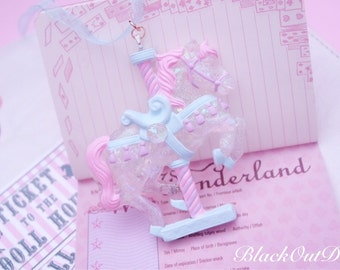 Magical Carousel Pony Unicorn Carnival Lolita Harajuku Kawaii Sparkly Pastel Necklace