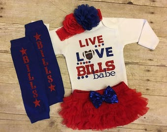 Live love bills babe, baby fan gear, I love the Bills, Buffalo Bills football, Bills baby, baby girl clothes, baby shower gift