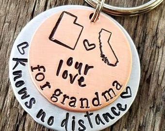 Personalized hand stamped grandma keychain. Gift for mom. Long distance grandmother gift. State keychain. Nana memaw gift from grandkids