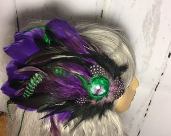 Purple and green feather hair /hat clip.