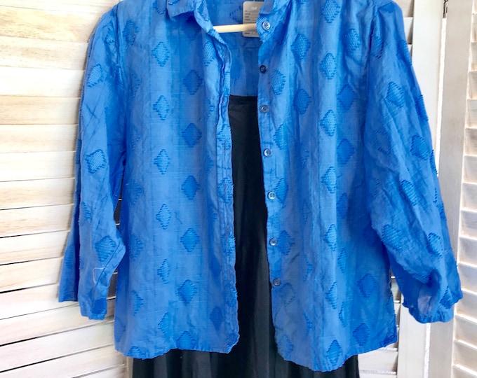 Azure blue cropped cotton shirt