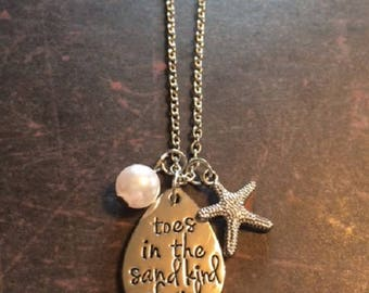 Toes in the Sand Design - Toes in the Sand - Beach Jewelry - Beach Jewelry Necklace - Beach Necklace - Beach Gifts - Beach Girl Necklace