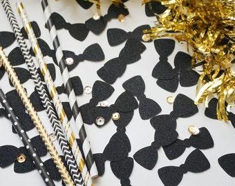 Black Bow Tie Glitter Confetti, Gold Glitter Bow Tie Confetti, Party Decorations, Party Decor, Wedding Decor, Birthday Party