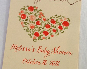 100 baby shower plantable seed paper favors - Baby in Bloom favors