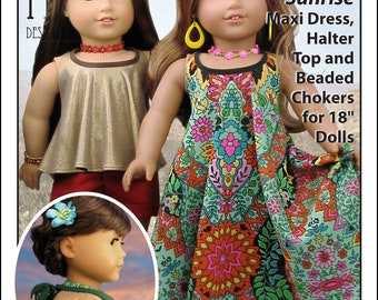 L&P #1032: Desert Sunrise Maxi Dress, Halter Top and Beaded Choker Pattern for 18 inch dolls - the perfect summer, boho look