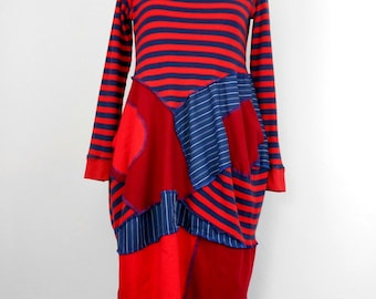 Upcycled Red and Blue Striped Teeshirt Dress / Recycled Teeshirt Tunic Dress / Lagenlook Stripe Balloon Dress /