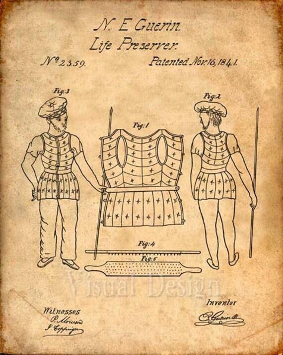 Life Preserver Patent Print From 1841 Patent Art Print