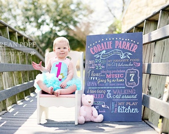 Customizable Printable First Birthday Chalkboard Poster