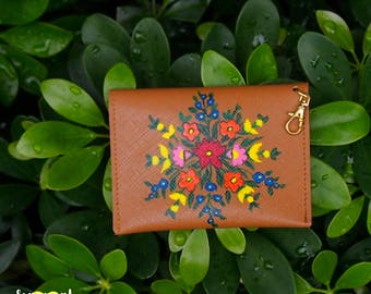 Floral Hand Painted Card Holder
