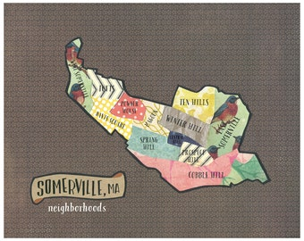 Somerville, MA Neighborhoods Map - Original Cut Paper Illustration FREE SHIPPING