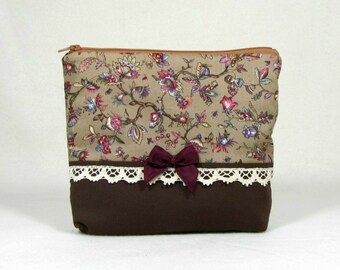 Zipper pouch, Cotton cosmetic pouch,  Floral make up bag,  makeup organizer, handmade pouch
