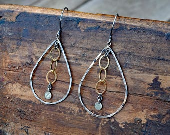 Hammered Sterling Tear Drop & Gold Chain Hoop Earrings