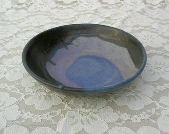 "Artisan Blue & Lavender Glazed Ceramic Bowl, handcrafted stoneware, signed by potter, 6 1/2"" diameter, vintage, like new"