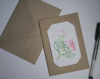 Embroidered bouquet of roses card
