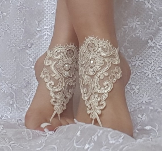 Wedding shoe Champagne gothic barefoot sandals wedding prom party steampunk bangle beach anklets bangles bridal bride bridesmaid gift
