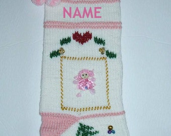 Hand knit Christmas Stocking for baby girl personalized. Baby 1st Christmas stocking. Lace cuff, decorative doll, pom-poms. Ready to ship