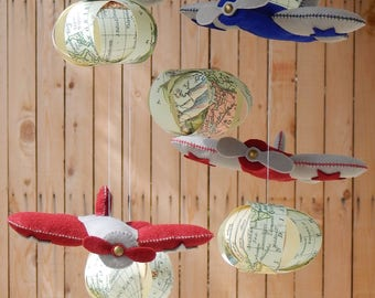 Adventurer Baby Mobile, let's fly away, vintage airplanes, baby world traveler, adventurer nursery, old world nursery, spinning mobile
