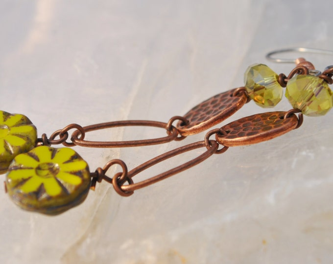 Chartreuse Czech glass bead flowers, chartreuse crystal and copper hoop  dangle Earrings
