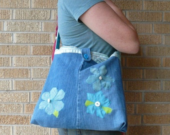 Upcycled Pants Summer Blue Flowers Recycled Butt Bag