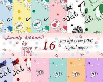 Lovely Kittens Digital Paper with kitties, hearts, cat spears, mouses. For cat lovers – Scrapbook Paper Download