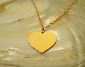 Heart necklace, Gold heart pendants, Friendship necklace, Couples Jewelry, Gold filled necklace, I love you pendant, Gold heart jewelry