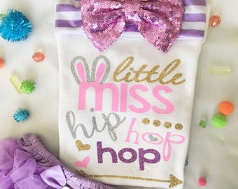Baby girl/Little Miss Hip Hop Hop/ Easter Outfit/ Baby girl onesie/ Sweet Sparkle