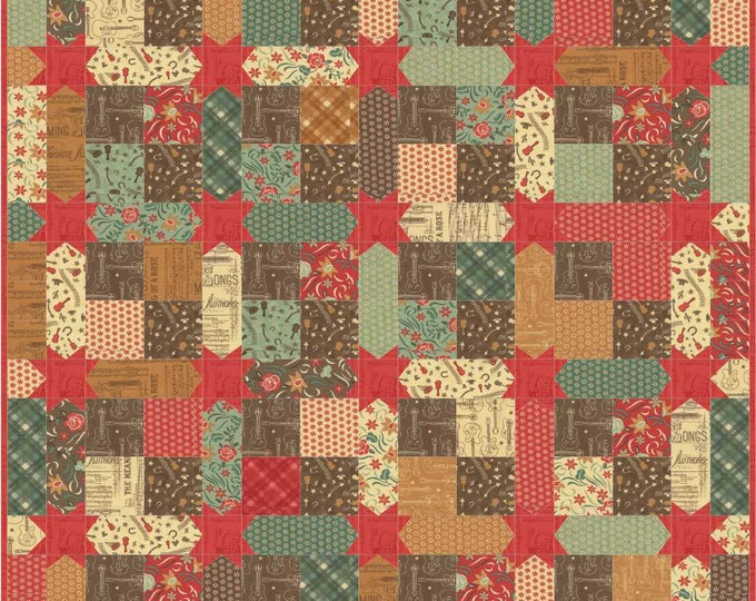 Honky Tonk a four patch with star studded sashing pdf quilt pattern