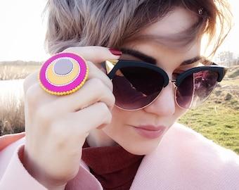 Large ring for women Hot pink ring Bohemian ring Adjustable ring Gypsy ring Boho ring Large rings women Large statement ring