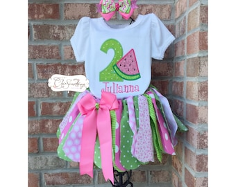 Watermelon tutu, pink watermelon birthday, First Birthday tutu, pink green watermelon shirt, watermelon outfit, watermelon tutu bow UD