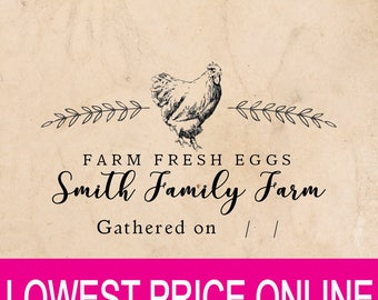 Farm Fresh eggs stamp - Custom name rubber stamp - chicken & flower  Just Laid Date - Coop Laurel Labels Rubber Stamp Pre-inked Stamp RE910