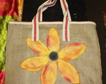 Sunflower Burlap tote