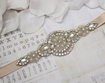 Wedding belt- flower girl belt, mocha belt, bridesmaid belt, flower girl sash, bridal sash, crystal and pearl belt, wedding dress belt