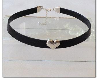 Sweetheart Black Leather Collar Choker BDSM Collar Submissive BDSM Daytime Slave Collar BDSM Jewelry