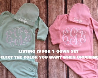 Newborn coming home outfit monogram gown -- Monogramed newborn gown and hat-- Baby girl coming home outfit-- baby shower gift -- monogram