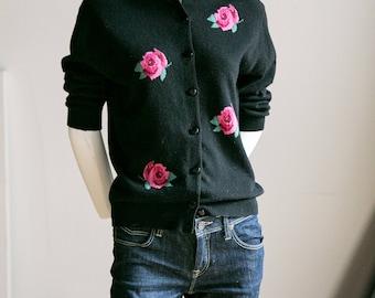 Floral Cardigan | 60s Floral Cardigan| Pink Floral Cardigan | Pink Rose Cardigan | Wool Floral Cardigan | Vintage Floral Cardigan |