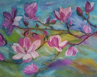 Flower painting,magnolias painting, Original Painting, oil painting, fine art