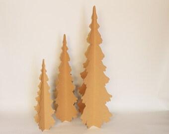 5ft 4ft & 3ft Natural Cardboard Trees