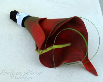 Boutonniere red calla lily wedding boutonnieres, Prom boutonniere