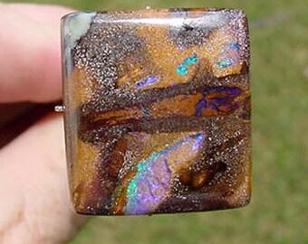 SALE ! Australian Boulder Opal Cabochon 24.5 carats Square Stone  16T162 #3