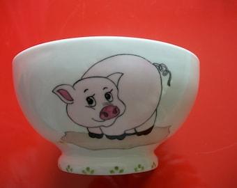 "Bowl decorated ""piggy"" Limoges porcelain bowl, hand painted Bowl, Bowl adult, child"